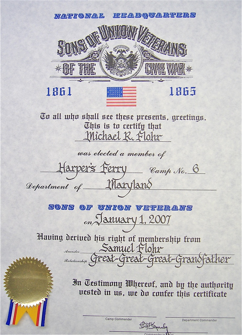 Calligraphy on Sons of Union Veterans Document