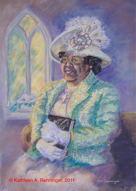 "Lady with Hat in church, Pastels, ""Elaine"""