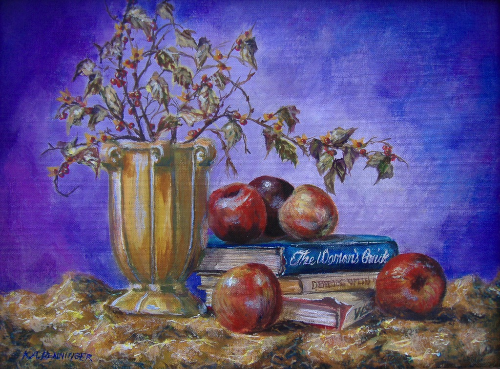 Apples, Books, and Bittersweet Painting ( Bridget's Table)